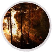 Round Beach Towel featuring the photograph Firefighters Burn Out On The White Draw Fire by Bill Gabbert