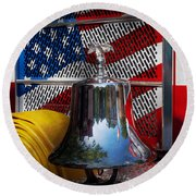 Fireman - Red Hot  Round Beach Towel by Mike Savad