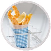 Fish And Chips Round Beach Towel by Amanda Elwell