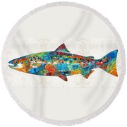 Fish Art Print - Colorful Salmon - By Sharon Cummings Round Beach Towel by Sharon Cummings