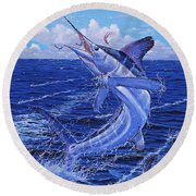 Flat Line Off0077 Round Beach Towel by Carey Chen