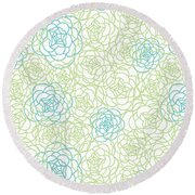 Floral Lines Round Beach Towel by Susan Claire