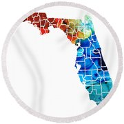 Florida - Map By Counties Sharon Cummings Art Round Beach Towel by Sharon Cummings