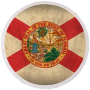 Florida State Flag Art On Worn Canvas Round Beach Towel by Design Turnpike