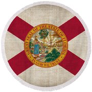 Florida State Flag Round Beach Towel by Pixel Chimp