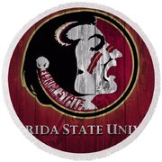 Florida State University Barn Door Round Beach Towel by Dan Sproul