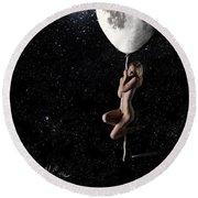 Fly Me To The Moon - Narrow Round Beach Towel by Nikki Marie Smith