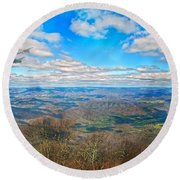 Flying The Sky Blue Ridge Parkway Round Beach Towel by Betsy Knapp