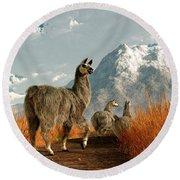 Follow The Llama Round Beach Towel by Daniel Eskridge