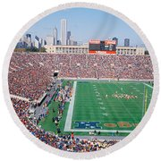 Football, Soldier Field, Chicago Round Beach Towel by Panoramic Images