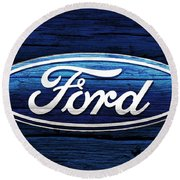 Ford Barn Door Round Beach Towel by Dan Sproul