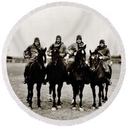 Four Horsemen Round Beach Towel by Benjamin Yeager