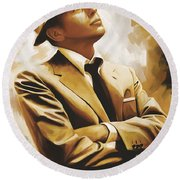 Frank Sinatra Artwork 1 Round Beach Towel by Sheraz A