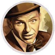 Frank Sinatra Artwork 2 Round Beach Towel by Sheraz A