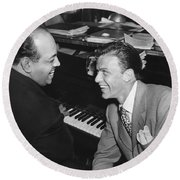 Frank Sinatra At Stork Club Round Beach Towel by Underwood Archives