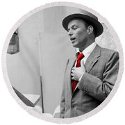 Frank Sinatra Painting Round Beach Towel by Marvin Blaine