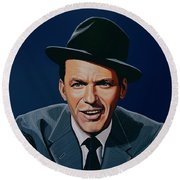 Frank Sinatra Round Beach Towel by Paul Meijering