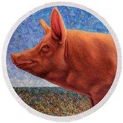 Free Range Pig Round Beach Towel by James W Johnson