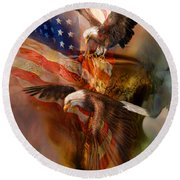 Freedom Ridge Round Beach Towel by Carol Cavalaris