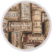 French Corks Round Beach Towel by Debbie DeWitt