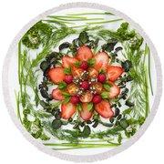Fresh Fruit Salad Round Beach Towel by Anne Gilbert