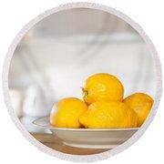 Freshly Picked Lemons Round Beach Towel by Amanda Elwell