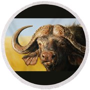 African Buffalo Round Beach Towel by Mario Pichler