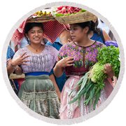 Fruit Sellers In Antigua Guatemala Round Beach Towel by David Smith