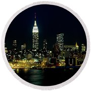 Full Moon Rising - New York City Round Beach Towel by Anthony Sacco