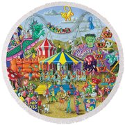 Fun At The Fairground Round Beach Towel by Mark Gregory