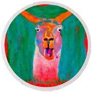 Funky Llama Art Print Round Beach Towel by Sue Jacobi