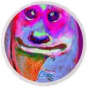 Funky Meerkat Tunnel Art Print Round Beach Towel by Sue Jacobi
