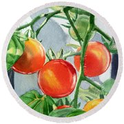 Garden Cherry Tomatoes  Round Beach Towel by Irina Sztukowski