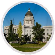 Garden In Front Of Utah State Capitol Round Beach Towel by Panoramic Images