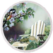 Chickadees In Blossom Tree Round Beach Towel by Regina Femrite