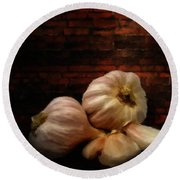 Garlic Round Beach Towel by Lourry Legarde
