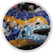 Gaudi Dragon Round Beach Towel by Joan Carroll