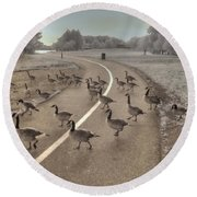 Geese Crossing Round Beach Towel by Jane Linders
