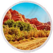 Getting The Sun In Canyon De Chelly Round Beach Towel by Dr Bob Johnston