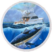 Giant Bluefin Off00130 Round Beach Towel by Carey Chen