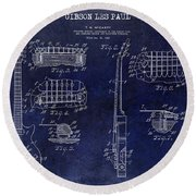 Gibson Les Paul Patent Drawing Blue Round Beach Towel by Jon Neidert