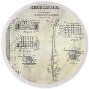 Gibson Les Paul Patent Drawing Round Beach Towel by Jon Neidert