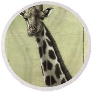 Giraffe Round Beach Towel by James W Johnson