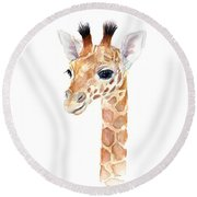 Giraffe Watercolor Round Beach Towel by Olga Shvartsur