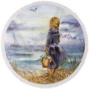 Girl And The Ocean Round Beach Towel by Irina Sztukowski