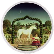 Girl With A Unicorn Round Beach Towel by Anthony Southcombe