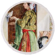Girl With Two Caged Doves, Cairo, 1864 Round Beach Towel by John Frederick Lewis
