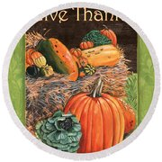 Give Thanks Round Beach Towel by Debbie DeWitt
