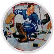 Goaltender Round Beach Towel by Derrick Higgins