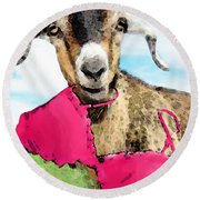 Goat Art - Oh You're Home Round Beach Towel by Sharon Cummings